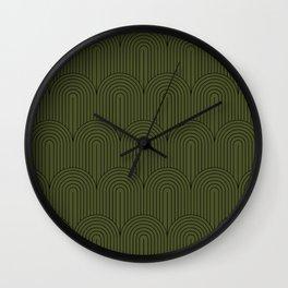 Art Deco Arch Pattern VIII - Dark Green Wall Clock