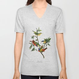 Painted finch, Birds of America, Audubon Plate 53 Unisex V-Neck