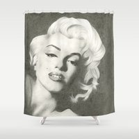 monroe Shower Curtains featuring Monroe by Brittany Shively