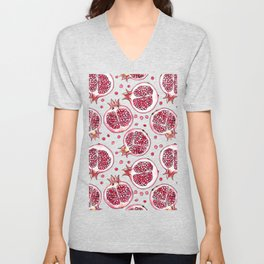Pomegranate watercolor and ink pattern Unisex V-Neck