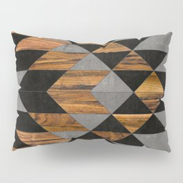 Urban Tribal Pattern 10 - Aztec - Concrete and Wood Pillow Sham
