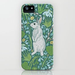 Grey hares with coltsfoots and snowdrops on green background iPhone Case
