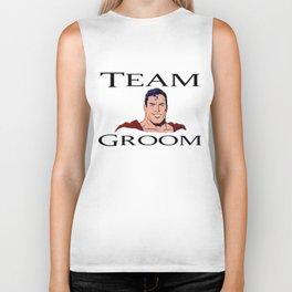 Super man head Team Groom Biker Tank