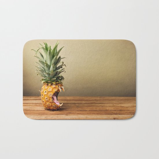 Pineapple is hungry Bath Mat