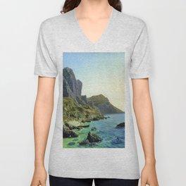 On The Island Of Capri Coastal Cliffs 1859 By Lev Lagorio | Reproduction | Russian Romanticism Paint Unisex V-Neck
