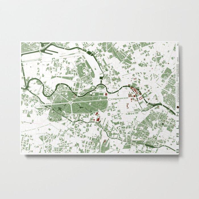 Berlin city map minimal Metal Print