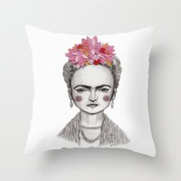 frida kahlo Throw Pillows featuring Frida Kahlo by Maripili