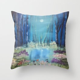 Nightfall at the pond Throw Pillow