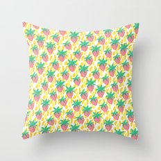 Pink Strawberries Throw Pillow