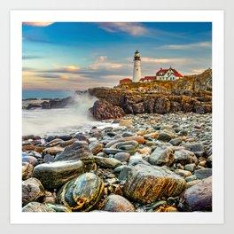 Waves Crashing at Portland Head Light in Maine Art Print