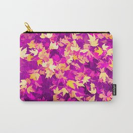 Autumn Leaves (pink & yellow) Carry-All Pouch