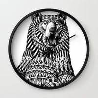 ornate Wall Clocks featuring Ornate Grizzly Bear by BIOWORKZ