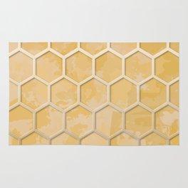 Hexagon on Beige Yellow Wall Rug