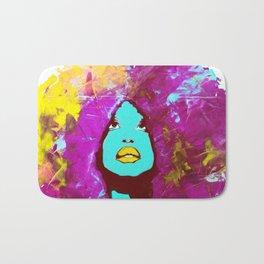 Afro Funk Girl colors Yellow Pink Bath Mat