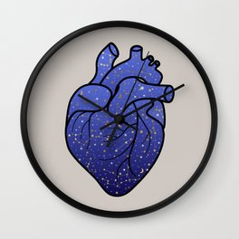 Space love / cosmic gold stars pattern on blue tattoo heart Wall Clock