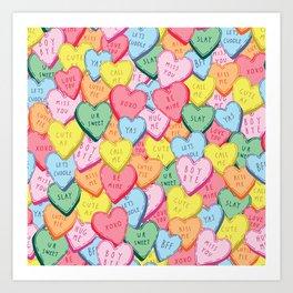 Candy Hearts Multicolour Art Print