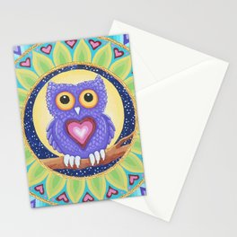 Little Purple Owl Mandala, by Soozie Wray Stationery Cards