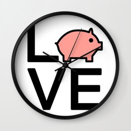 Love Pigs Cute And Funny Love Design Wall Clock