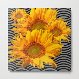 GOLDEN YELLOW SUNFLOWERS ABSTRACT Metal Print