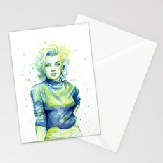 Marilyn Portrait Watercolor Painting Actress Old Hollywood Stationery Cards