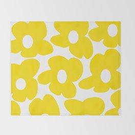 Large Yellow Retro Flowers on White Background #decor #society6 #buyart Throw Blanket