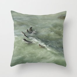 Sea Lions Cavorting in a Green Sea Throw Pillow