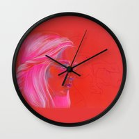 mother of dragons Wall Clocks featuring Mother of Dragons by Erin Garey