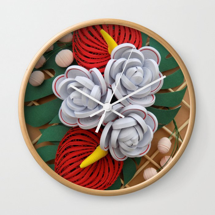 Anthurium rose flowers paper quilling wall clock by wondercraftshop anthurium rose flowers paper quilling wall clock mightylinksfo