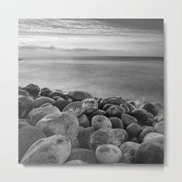 Serenity Sunrise. Santiago Beach. Bw. Metal Print