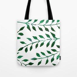 Green Watercolor Fronds Tote Bag