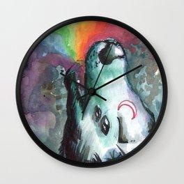 rainbow alien wolf Wall Clock