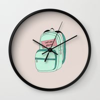 backpack Wall Clocks featuring Backpack by Mrs. Ciccoricco