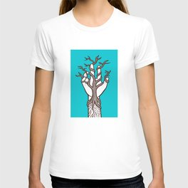 Bare tree growing within a hand – interlacing of nature and humanity T-shirt