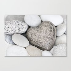 Stone Heart and pebble greige tones Canvas Print