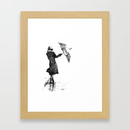 Woman with umbrella Framed Art Print