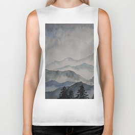 foggy landscape watercolor Biker Tank