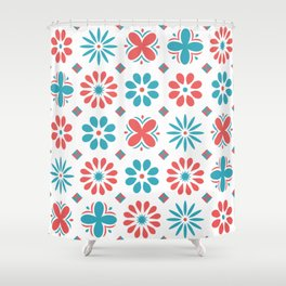 Geometric Abstract Flower Pattern Shower Curtain