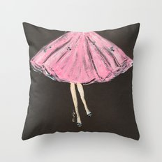 Jolie Pink Fashion Illustration Throw Pillow