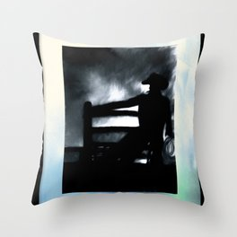 Cowboy In The Misty Night Throw Pillow