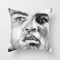 ali Throw Pillows featuring Ali by DeMoose_Art