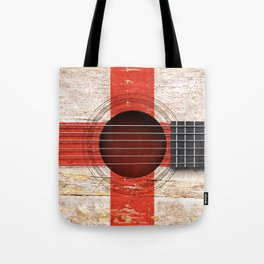 Old Vintage Acoustic Guitar with English Flag Tote Bag