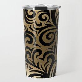 Gold and Black Swirl Pattern Travel Mug