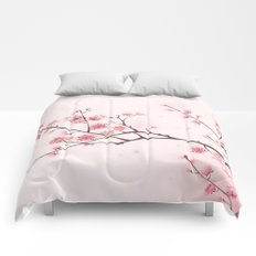 Oriental style painting, cherry blossom in spring Comforters