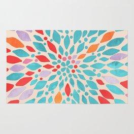 Radiant Dahlia - teal, orange, coral, pink watercolor pattern Rug