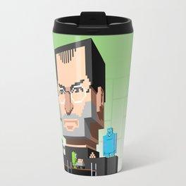 Steve Jobs 3D pixel portrait Travel Mug