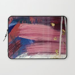 Los Angeles [3]: A vibrant, abstract piece in reds and blues and gold by Alyssa Hamilton Art Laptop Sleeve