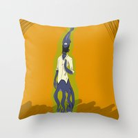 fallout Throw Pillows featuring Fallout Squid by PhantomAmber