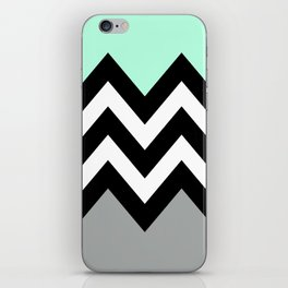 DOUBLE COLORBLOCK CHEVRON {MINT/BLACK/GRAY} iPhone Skin