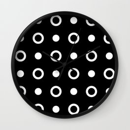 Polka Dot Pattern 243 Black And White Wall Clock