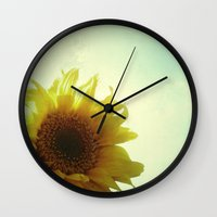 sunflower Wall Clocks featuring Sunflower by Cassia Beck
